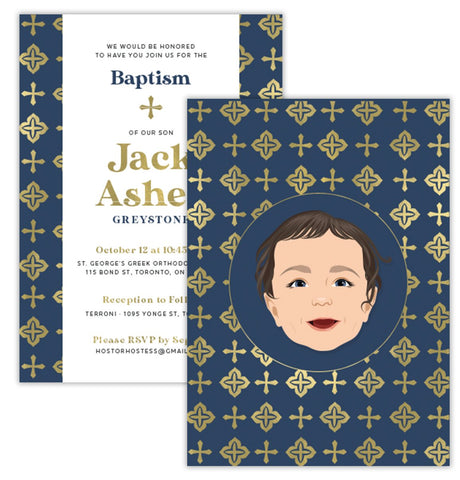 Portrait Invite for Baptism or Christening