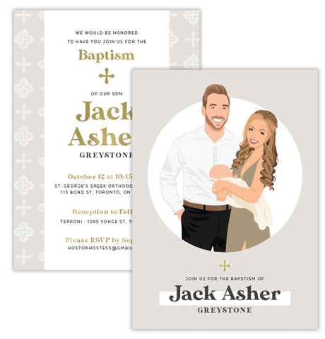 Family Portrait Invite for Baptism or Christening