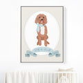 Pet Portrait Nursery Art with Big Brother or Big Sister Ribbon - BLUE