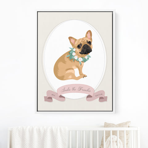 Pet Portrait Nursery Art with Big Brother or Big Sister Ribbon - PINK
