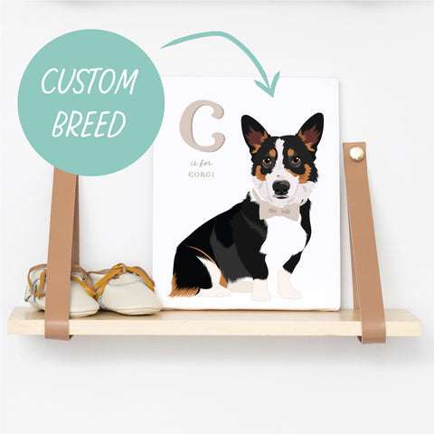 Custom Dog Breed Art - Alphabet Nursery Decor