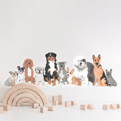 Nursery Wall Decal with Dogs - Removable Wall Art for Gender Neutral Nursery