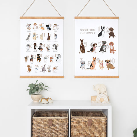 Dogs Nursery Art Set - ABC's + Counting - Hanging Canvas Prints