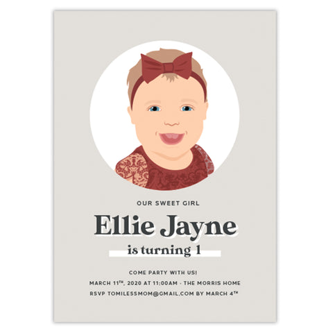 First Birthday Party Invitation with Illustrated Portrait