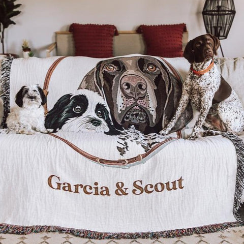Custom Pet Portrait Woven Blanket