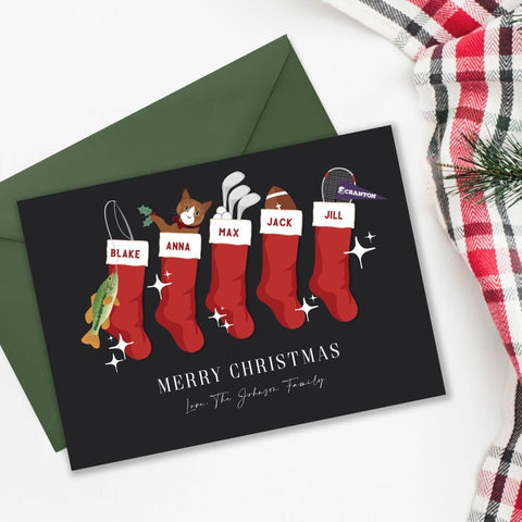 Custom Christmas Stockings Holiday Card