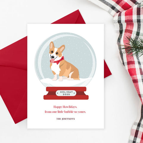 Pet Portrait Holiday Card with Snow globe