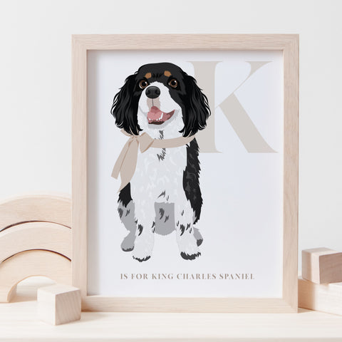 Alphabet Dog Breed - K is for King Charles Spaniel