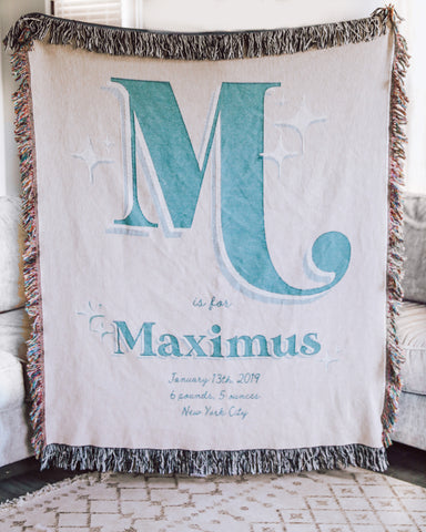 Boho Woven Birth Blanket Personalized for Nursery