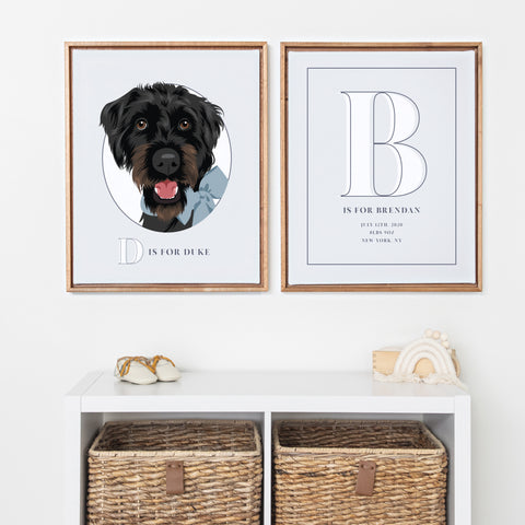 Pet Portrait and Baby Boy Name Print - Framed Nursery Art Set