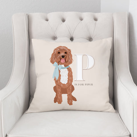 Pet Portrait Alphabet Art Pillow - Antique Cream