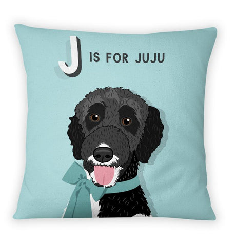 Pet Portrait Alphabet Art Pillow - Pop Style