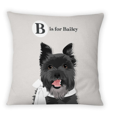 Pet Portrait Alphabet Art Pillow - Vintage Style