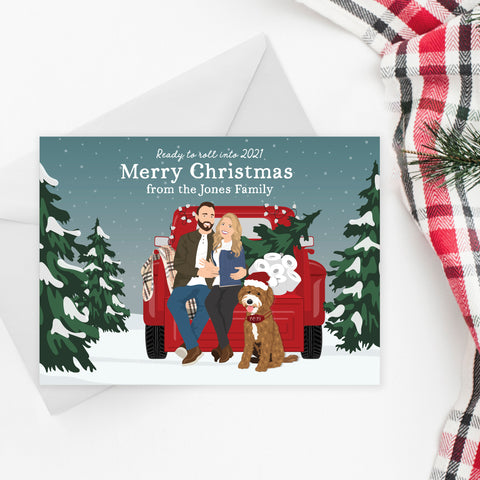 Funny Family Portrait Holiday Card with Truck