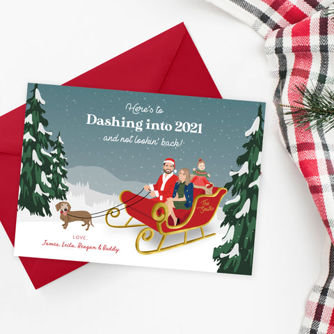 Funny Family Portrait Holiday Card with Sleigh