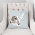 Pet Portrait Alphabet Art Pillow - Misty Blue