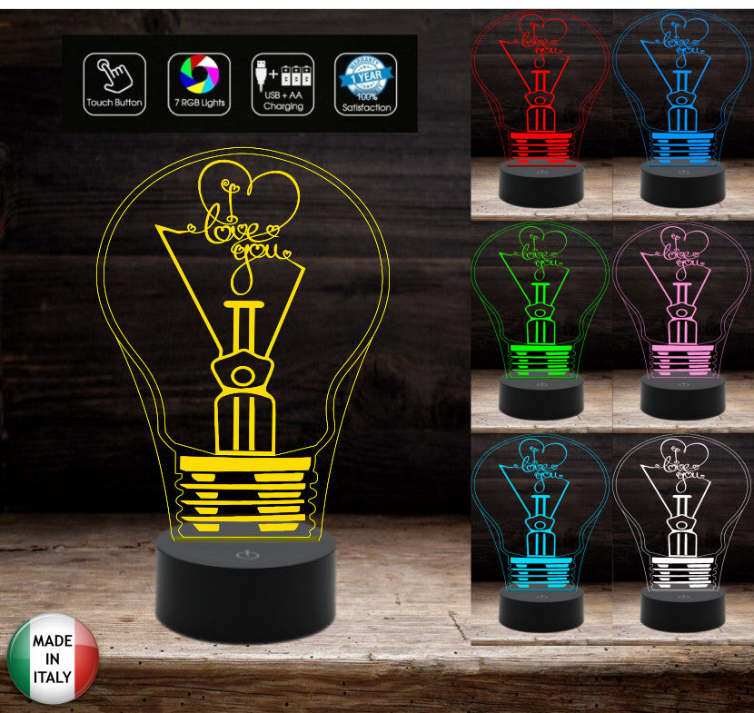 Idea regalo San Valentino LAMPADINA con scritta I LOVE YOU Lampada led 7 colori touch