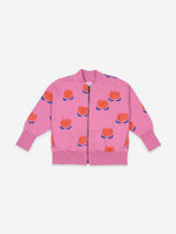Chocolate Flower All Over Zipped Sweatshirt