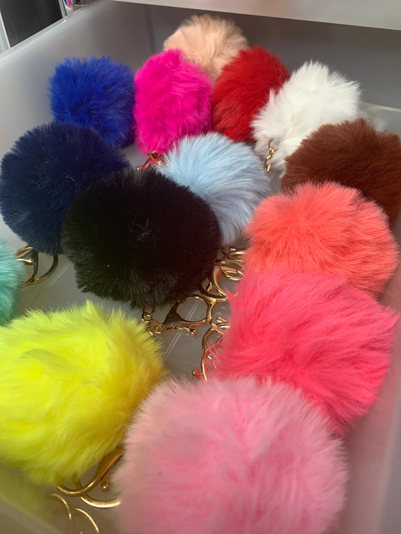Fur Puff Keychains (10 Piece)