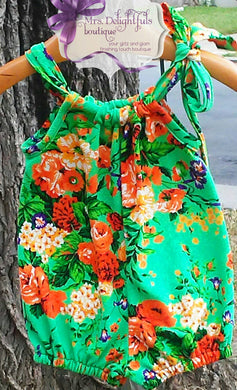 Green floral pillowcase romper