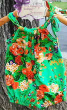 Load image into Gallery viewer, Green floral pillowcase romper