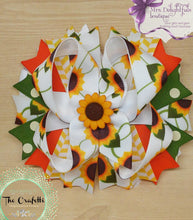 Load image into Gallery viewer, yellow sunflower boutique bow