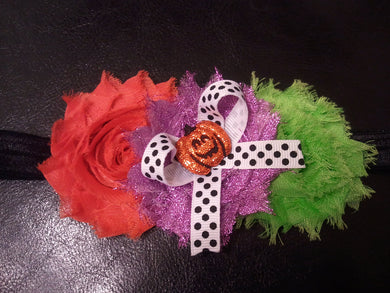 Halloween shabby flower headband