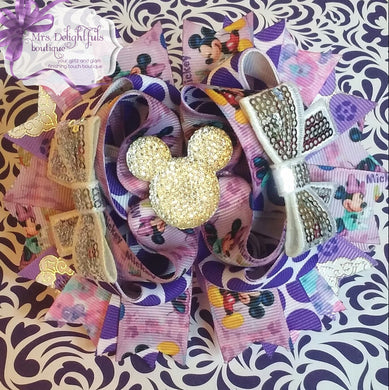purple minnie inspired boutique bow