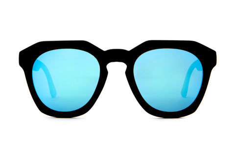 Crap Eyewear No Wave - Flat Black w/ Reflective Blue Lenses