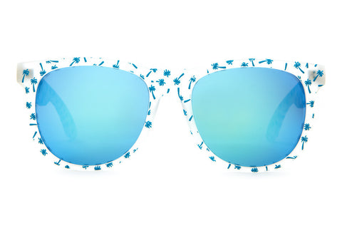 Crap Eyewear Nudie Mag - Matte Translucent w/ Blue Palms & Reflective Blue Lenses