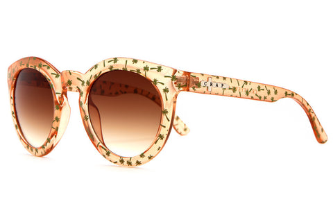 Crap Eyewear T.V. Eye - Gloss Crystal Peach w/ Mint Palms & Amber Gradient CR-39 Lenses
