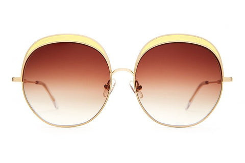 Crap Eyewear Cloud Magic - Brushed Gold Wire & Yellow Enamel Inlay w/ Amber Gradient CR-39 Lenses