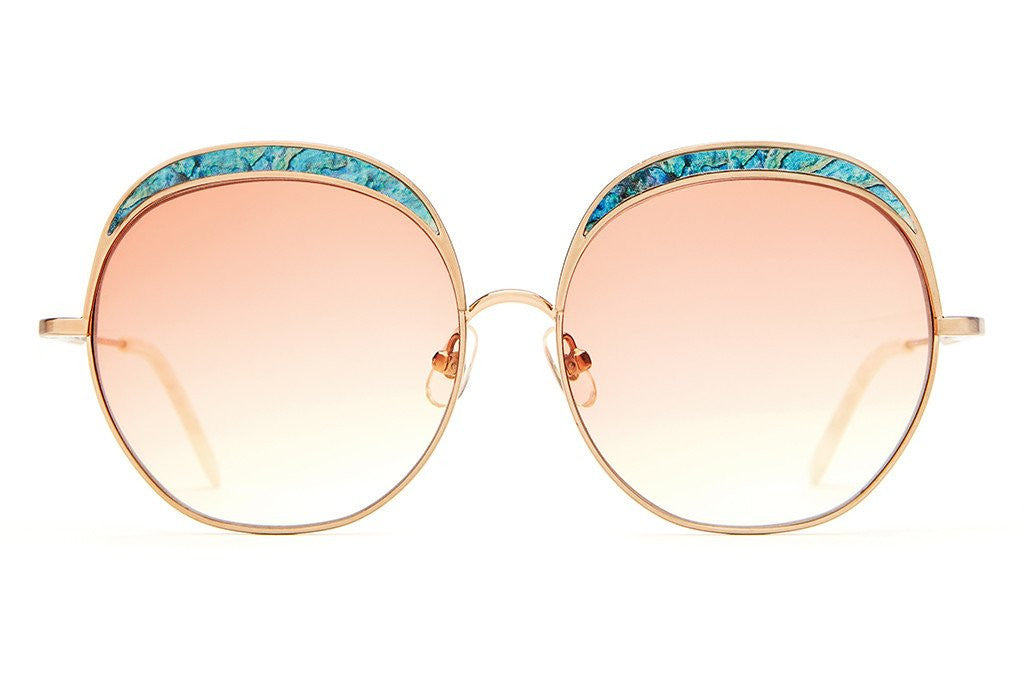 Crap Eyewear Cloud Magic - Brushed Rose Gold Wire & Abalone Enamel Inlay w/ Peach Gradient CR-39 Lenses