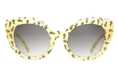 Crap Eyewear Diamond Brunch Sunglasses - Gloss Semitranslucent Yellow & Black Pineapple Print w/ Grey Gradient Lenses
