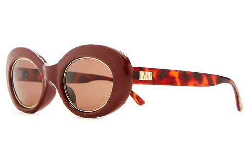 Crap Eyewear The Love Tempo - Gloss Oxblood & Brown Tortoise & Gold Wire Wrap w/ Amber CR-39 Lenses