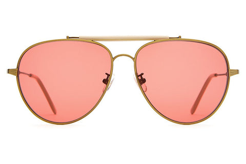 Crap Eyewear The Road Crue - Antique Gold Wire, Gloss Khaki Brow & Tips w/ Deep Rose CR-39 Lenses
