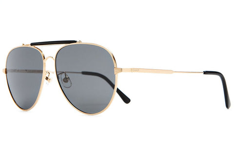 Crap Eyewear The Road Crue - Brushed Gold Wire, Gloss Black Brow & Tips w/ Polarized Grey Lenses
