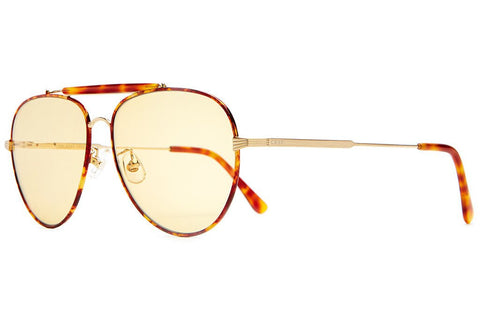 Crap Eyewear The Road Crue - Brushed Gold Wire, Havana Tortoise Rims, Brow & Tips w/ Gold Tint CR-39 Lenses