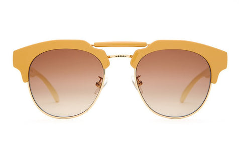 Crap Eyewear Stepping Razor - Gloss Camel & Cream Stems w/ Zero Base Amber Gradient CR-39 Lenses