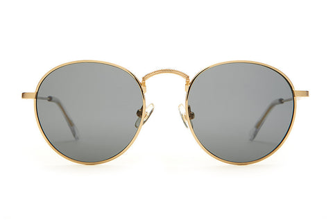 Crap Eyewear Tuff Patrol - Brushed Gold Wire & Crystal Clear Tips w/ Polarized Grey Lenses