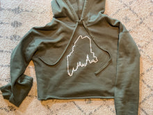 Load image into Gallery viewer, Pine Tree Coast Line Cropped Fleece Hoodie