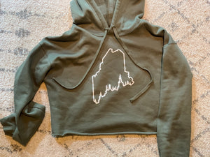 Pine Tree Coast Line Cropped Fleece Hoodie