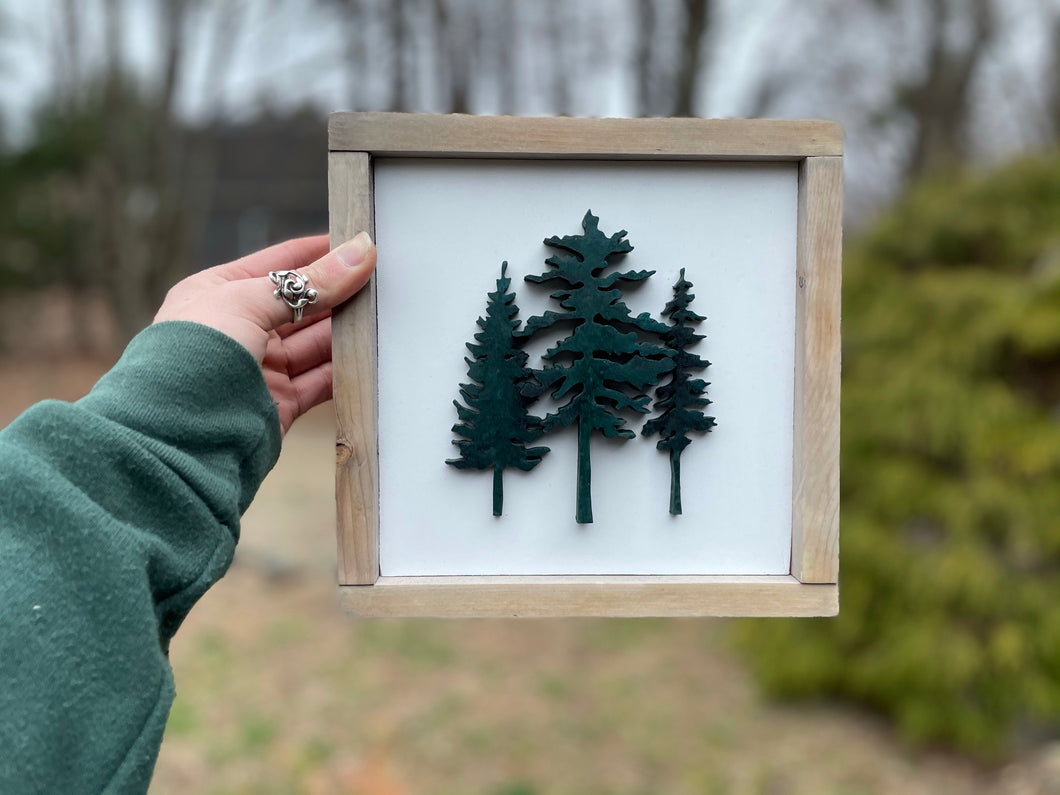 Maine Conifer Trees - Weathered Framed Sign