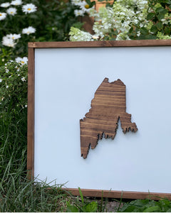 3D Maine Pine Tree Coast Framed Sign