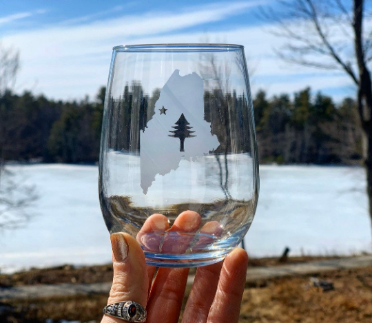 Maine Bicentennial Etched Stemless Wine Glass