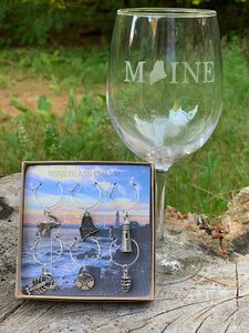 Maine Wine Glass Charm Set