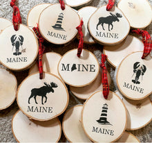 Load image into Gallery viewer, Maine Birch Wood Round Ornaments