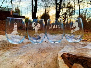 Maine Themed Etched Stemless Wine Glass