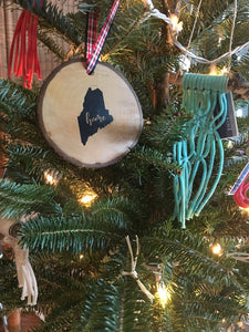 Maine Wood Round Ornaments