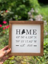 Load image into Gallery viewer, Home Coordinates Framed Sign